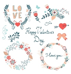 Happy valentines day elegant graphic elements vector