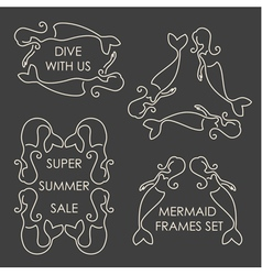 Line art mermaids logo set on grey background vector image