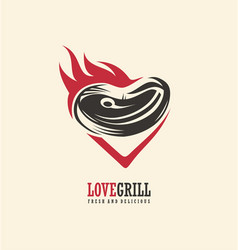 love grill logo design vector image