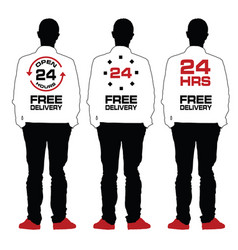 Man silhouette set with 24 free delivery on back vector