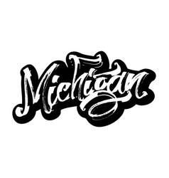 michigan sticker modern calligraphy hand vector image vector image