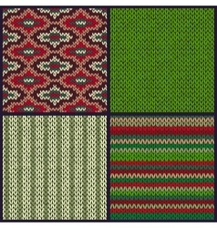 Seamless knitted pattern set of christmas samples vector