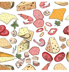 Seamless pattern with pizza and salad ingredients vector