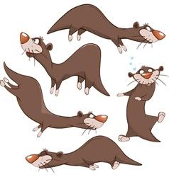 Set cartoon cute otters vector