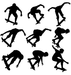 Set ilhouettes a skateboarder performs jumping vector image