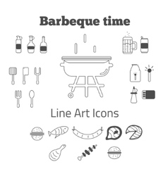 Set of line art barbeque icons in minimal vector