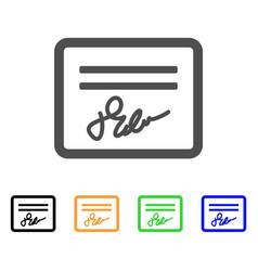 Signed cheque flat icon vector