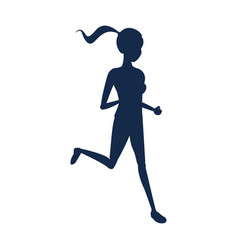 Silhouette sport girl fitness running vector
