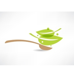 Spoon with green leaf icon vector