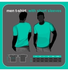 T-shirt men back and front vector image