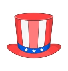 Top hat in the USA flag colors icon cartoon style vector image vector image