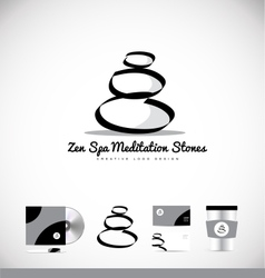 Zen stones drawing black white logo icon design vector