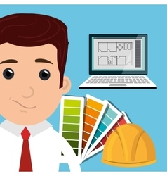 man architect laptop vector image
