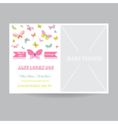 Baby girl arrival card with a butterfly theme vector