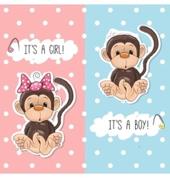 Monkey boy and girl vector