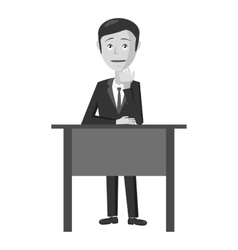 Businessman at table icon gray monochrome style vector