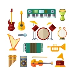 Music instrument flat icons vector