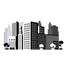 Grayscale city with buils icon vector