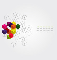 Abstract background with color cubes vector