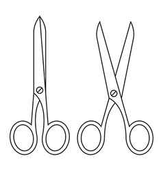 Open and closed scissors vector