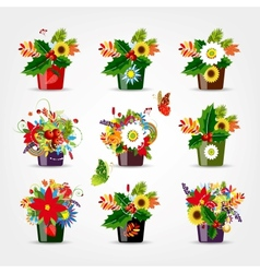 Set of floral pots isolated for your design vector image