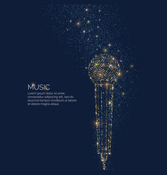 Bright music poster with microphone of glitter vector