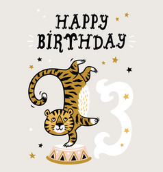 Birthday card for 3 year old baby vector