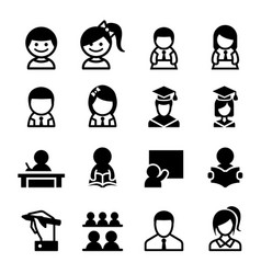 student learning icon set vector image
