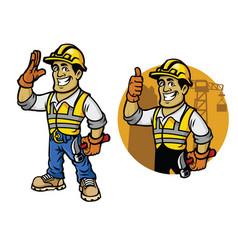 cartoon of construction worker vector image