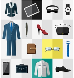 Set of flat business work clothes and accessories vector