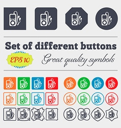 Mp3 player headphones music icon sign big set of vector