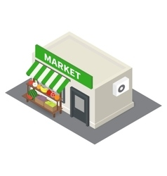 Isometric market stalls with vegetables vector