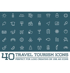 Set of travel tourism and holiday elements icons vector