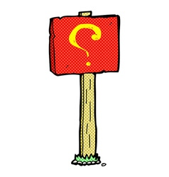 Comic cartoon question mark sign post vector