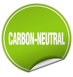 Carbon-neutral round green sticker isolated on vector