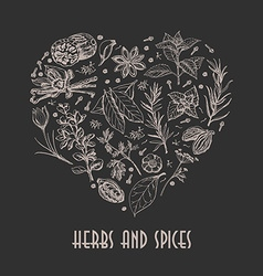 Isolated heart from spices and herbs on black vector