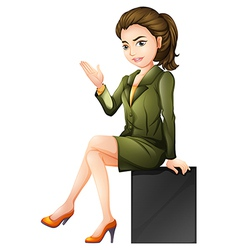 A businesswoman sitting down vector image