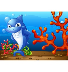 A happy shark underwater vector image vector image