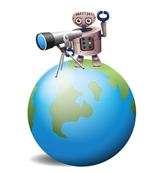A robot with a telescope above a globe vector image vector image