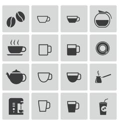 Black coffe icons set vector