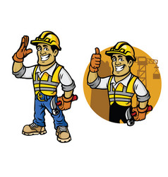 cartoon of construction worker vector image vector image