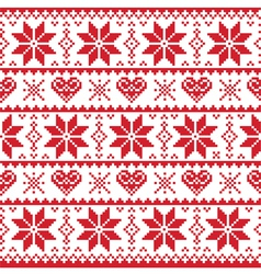 Christmas knitted pattern card - scandynavian vector