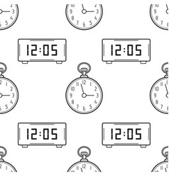 electronic watch and pocket watch black and white vector image vector image