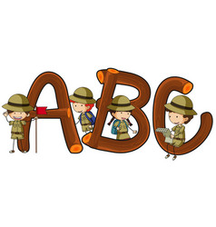 english alphabets and kids in safari outfit vector image