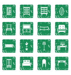 Furniture icons set grunge vector