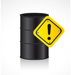 Gallon of fuel with warning sign background vector