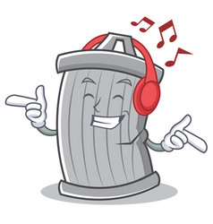listening music trash character cartoon style vector image vector image