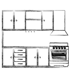 monochrome sketch of kitchen cabinets with stove vector image vector image