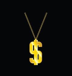 Necklace with dollar vector