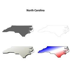 North Carolina outline map set vector image